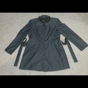 Tahari Trench Coat Jacket Gray Size Large